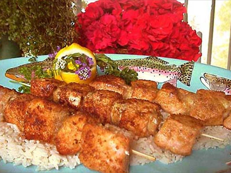 Brochettes of salmon