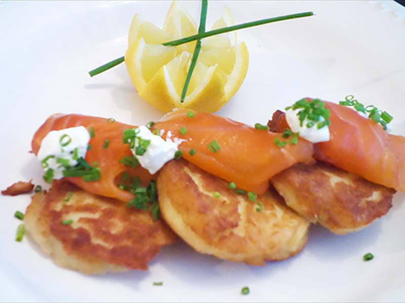 Potato galettes with smoked salmon and dill creme fraiche