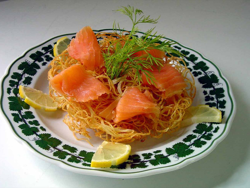 smoked salmon potato nest galettes